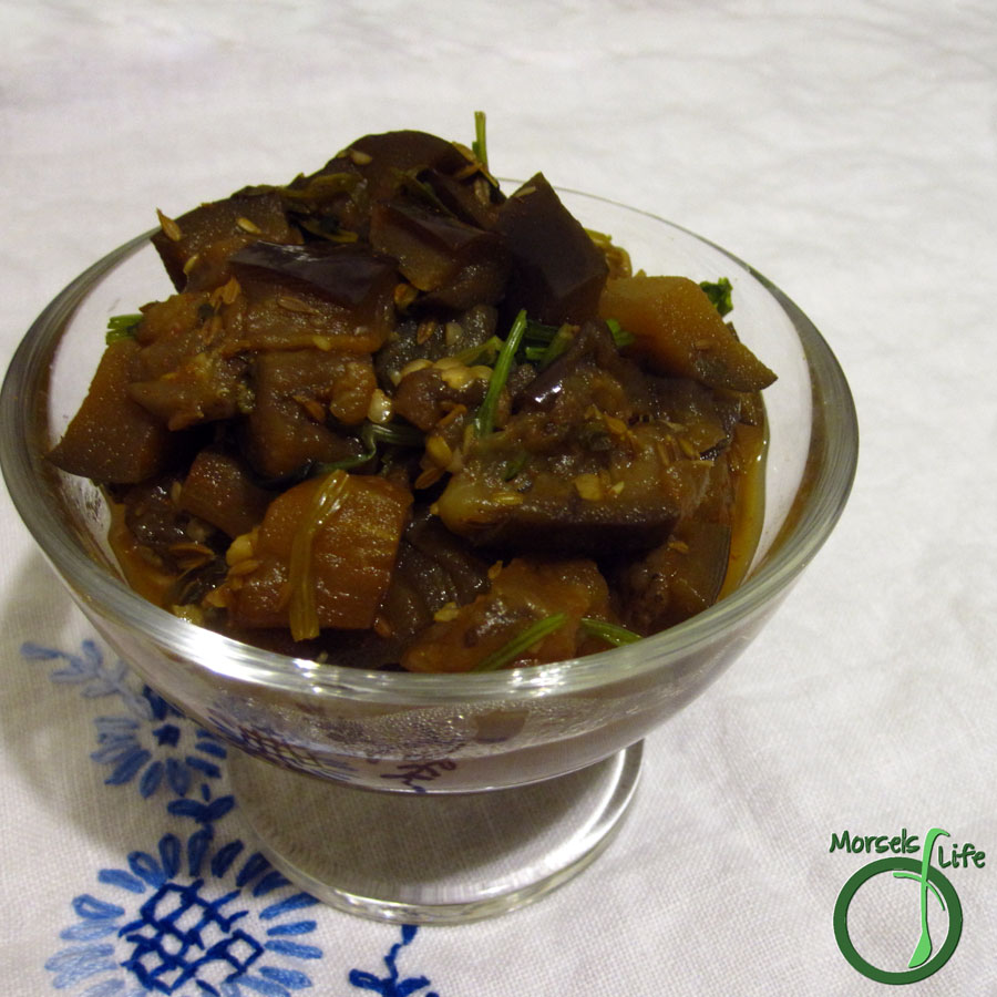 Morsels of Life - Moroccan Eggplant - A warm and comforting eggplant dish in the Moroccan style, flavored with garlic, cumin, paprika, and cilantro.