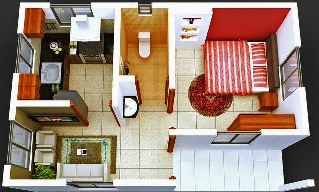 Contoh Gambar Denah Rumah Minimalis 3D 1 Lantai