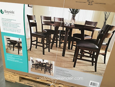 Add the Bayside Furnishings 7-piece Counter-Height Round Drop-Leaf Dining Set to your home's dining room