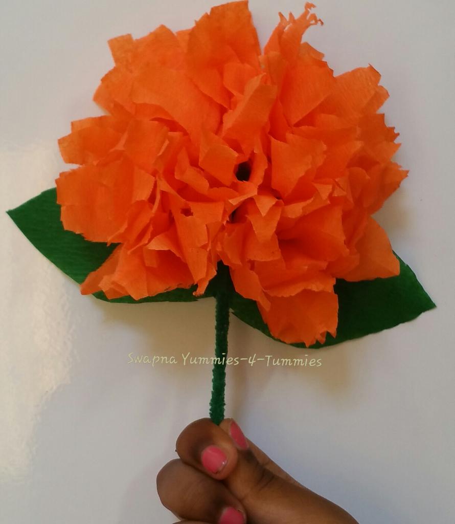 Marigold flower making using crepe paper mightylinksfo