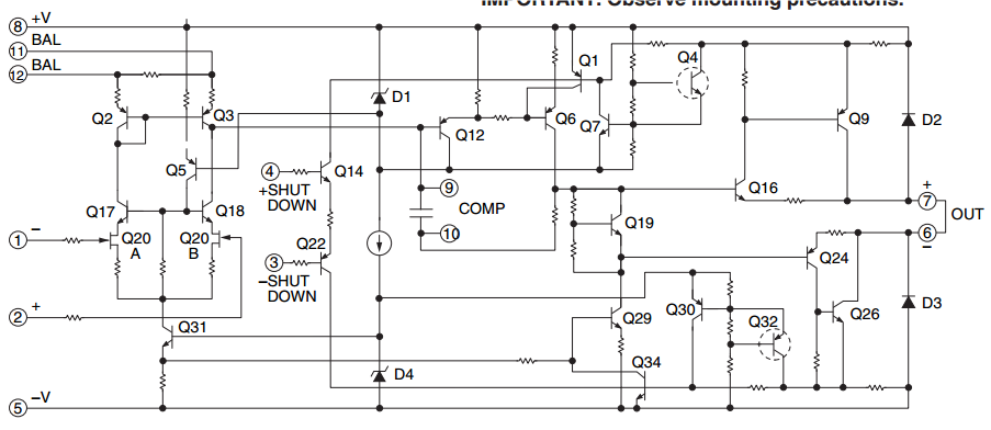 1000 Watts Operational Power Amplifier circuit diagram