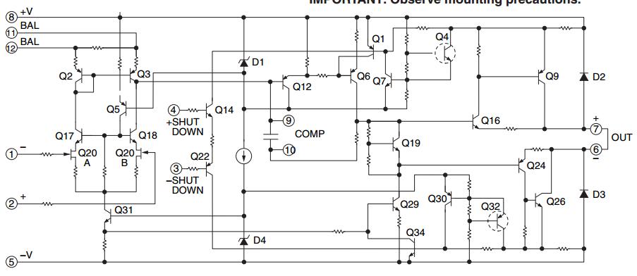 1000 Watts Operational Power Amplifier circuit diagram