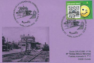 Tarjeta del matasellos del 125 aniversario de la llegada del ferrocarril a Avilés