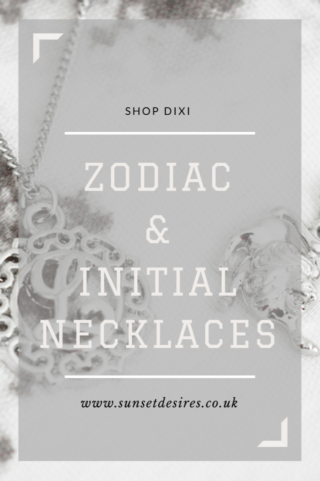 Banner for the post saying Shop Dixi Zodiac & Initial Necklaces.