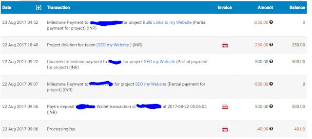 free lancer.com transaction details