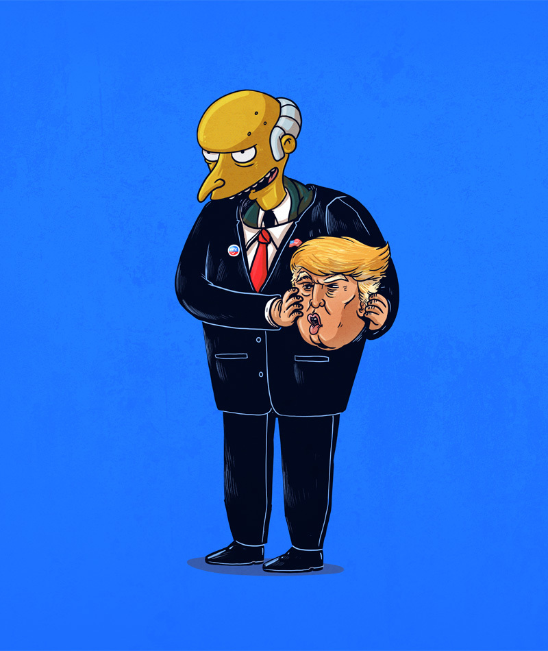 15-Mr-Burns-The-Simpsons-and-Donald-Trump-Alex-Solis-Illustrations-of-Icons-Unmasked-www-designstack-co