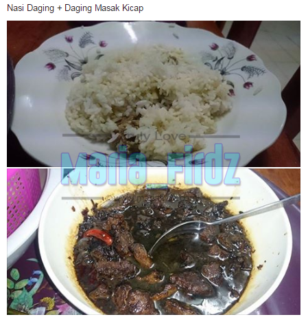Nasi Daging Dan Daging Masak Kicap Versi Menu Dalam Pantang!