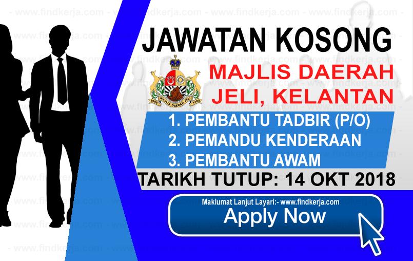 Jawatan Kerja Kosong Majlis Daerah Jeli logo www.findkerja.com www.ohjob.info oktober 2018