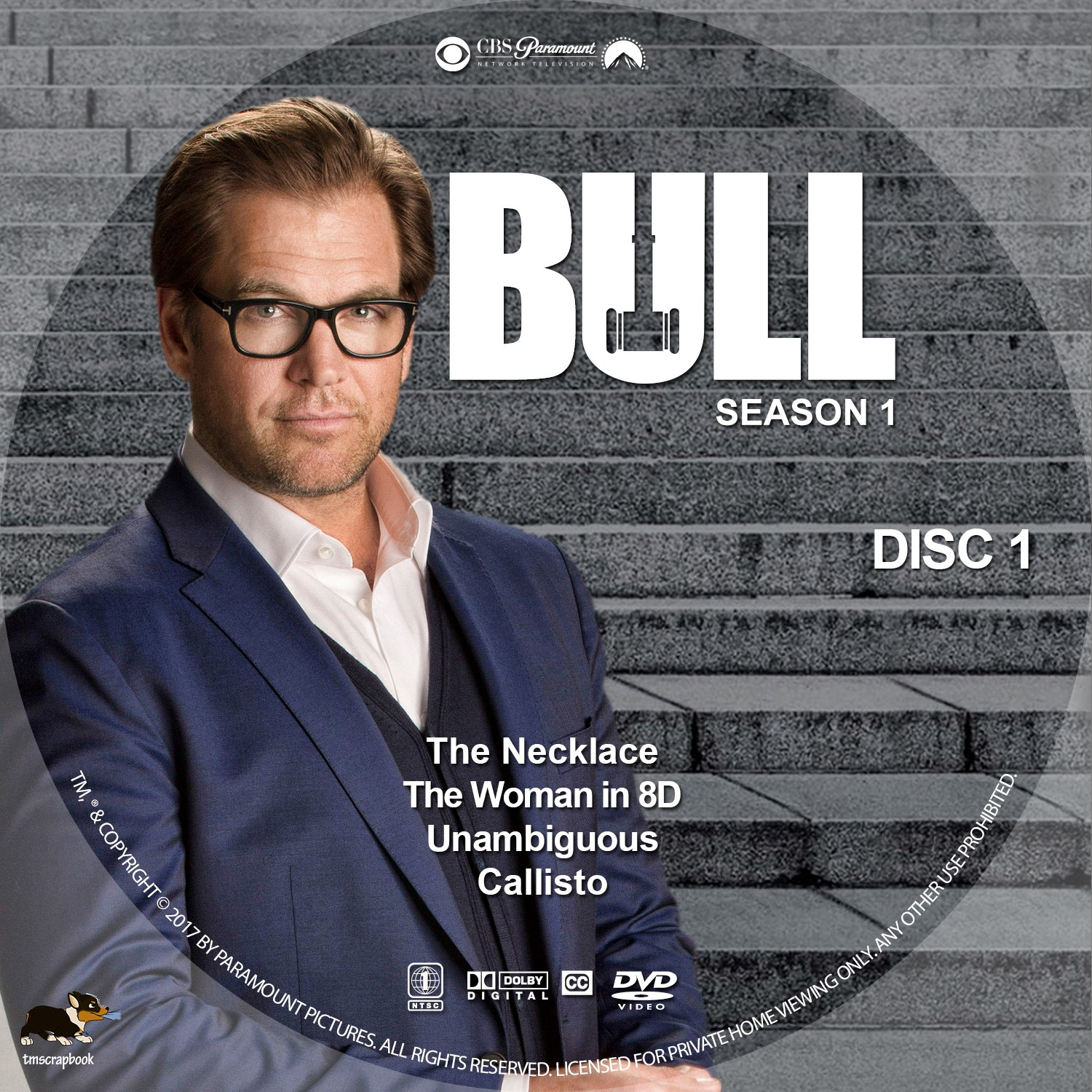 Bull Season 1 Disc 1-6 DVD Label