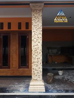 Ukiran pilar teras batu alam paras jogja (Batu putih) bentuk kotak