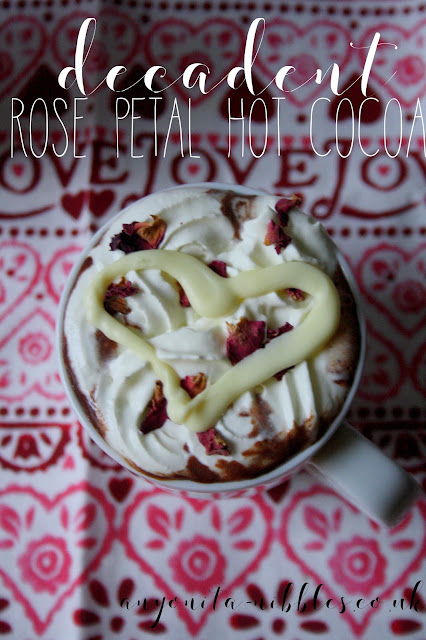 This is the most decadent and indulgent rose petal hot cocoa! Perfect for Valentine's Day or anytime you want to up the ante in the romance department. It's all scratch made and delicious! From Anyonita-nibbles.co.uk