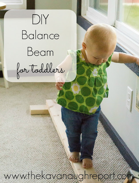 A DIY balance beam perfect for toddlers. This cheap easy DIY can provide gross motor challenges for toddlers and preschoolers.