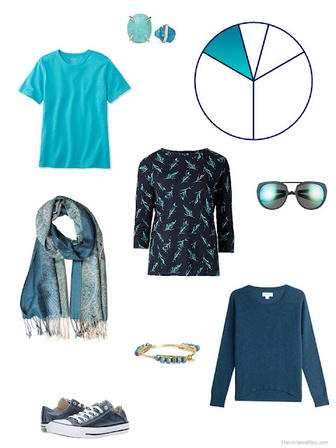 teal and aqua additions to a capsule wardrobe