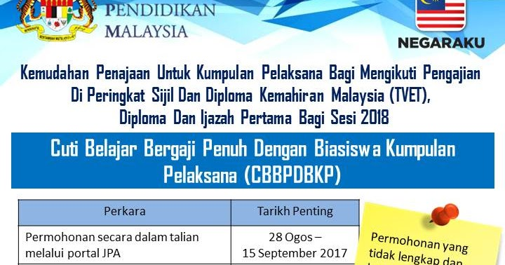Mersing Hebat Pelawaan Kemudahan Penajaan Untuk Kumpulan Pelaksana Bagi Mengikuti Pengajian Di Peringkat Sijil Dan Diploma Kemahiran Malaysia Tvet Diploma Dan Ijazah Pertama Sesi 2018