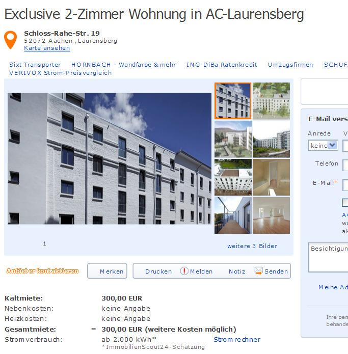 wohnungsbetrugblogspotcom Exclusive 2Zimmer Wohnung in ACLaurensberg SchlossRaheStr 19