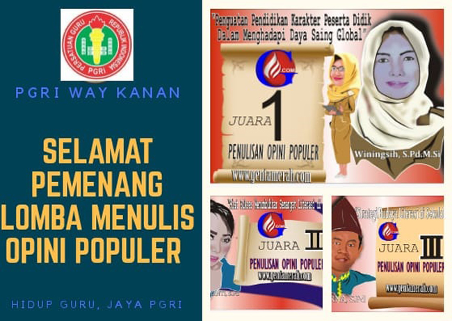 Gelar Lomba Penulisan Opini Populer PGRI Waykanan, Winingsih Raih Juara Terbaik