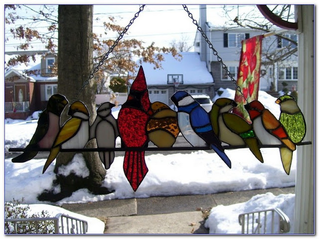Stained GLASS Birds On A Wire WINDOW Art design ideas