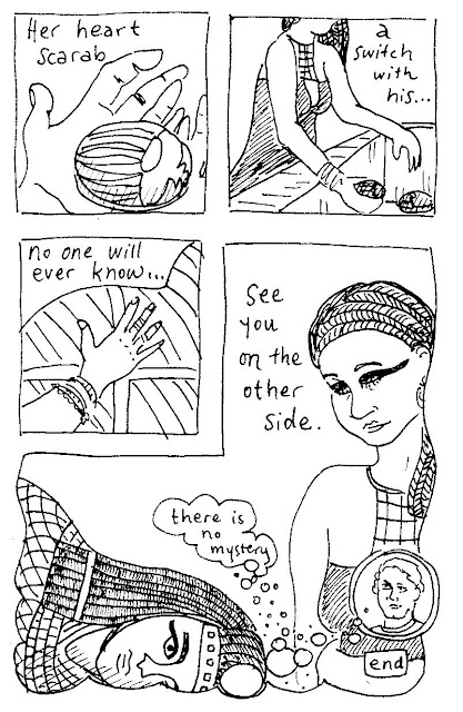 comic: the singer switches her heart scarab with the young priest's so her heart will accompany him into the afterlife. (c) by David Borden.