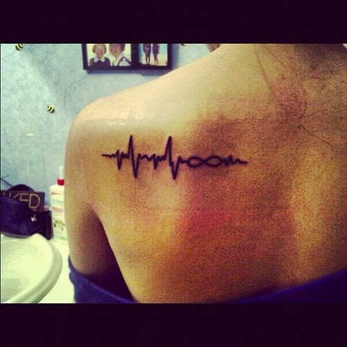 Heartbeat Infinity Tattoo For Girls