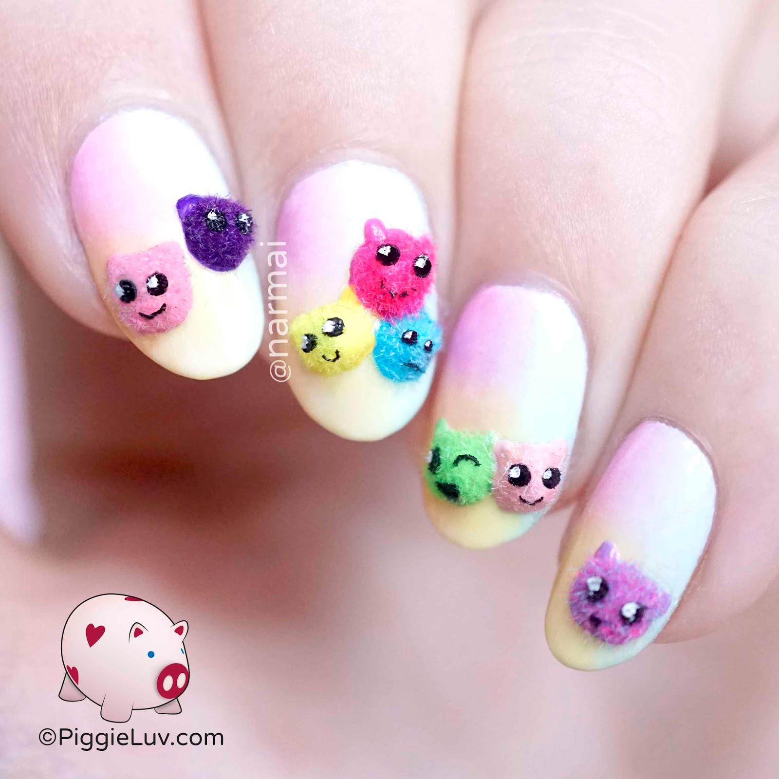 Little Google1 Nail Art: PiggieLuv: Little Fuzzies Nail Art