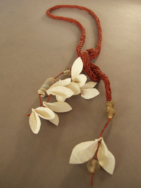 rust and ivory sculpted paper leaf necklace