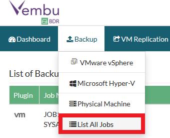 Vembu: Configurar job de backup - Parte 2