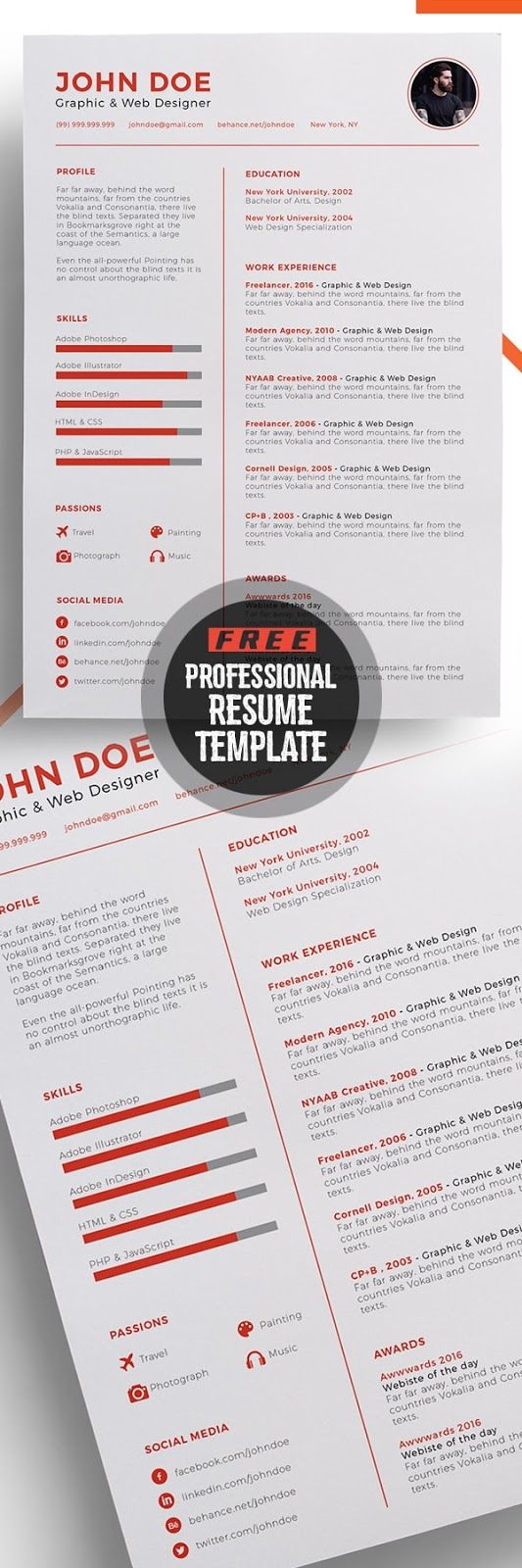 Download Template CV Word 100% Gratis - Free Professional Resume Template Design
