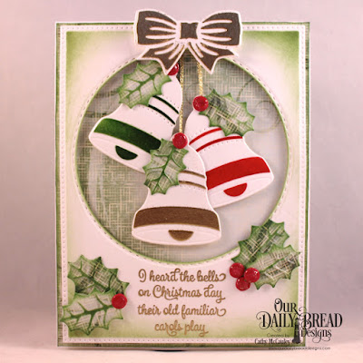 Our Daily Bread Designs Stamp Set: Christmas Card Verses, Paper Collection: Christmas 2018, Dies: Christmas Bells, Pierced Rectangles, Double Stitched Circles