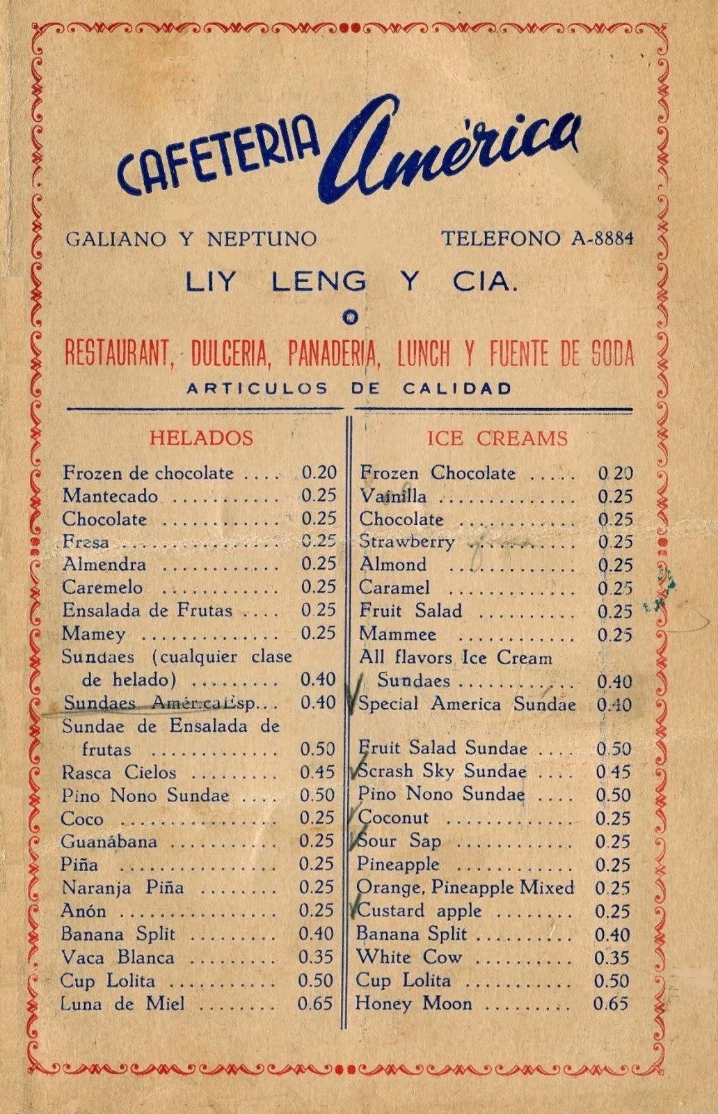 Havana Cuba Restaurant Menu