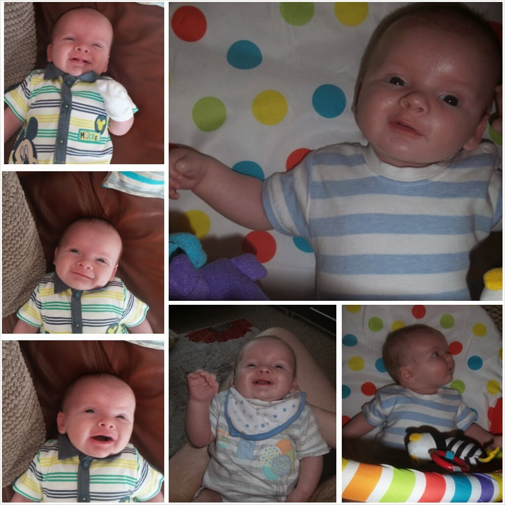 carsonsmummy blog, baby first smiles, 6 week review, newborn smiling