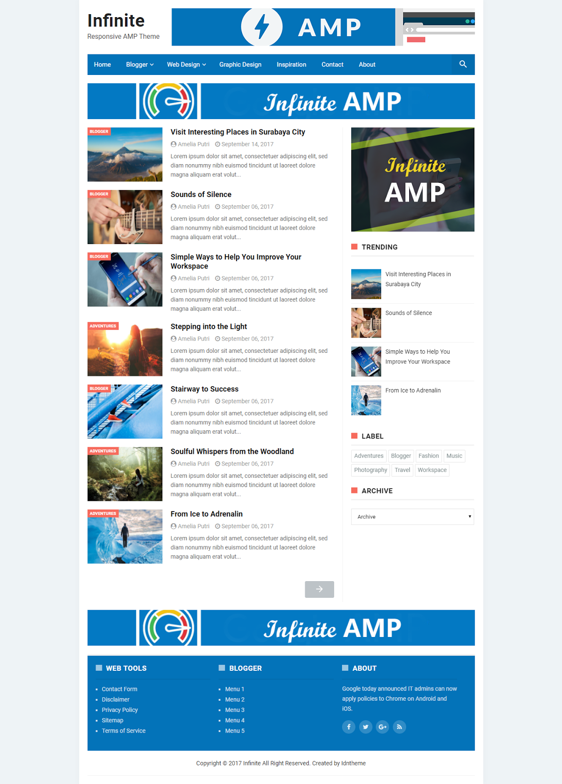Infinite AMP Responsive Blogger Template - Zona Template