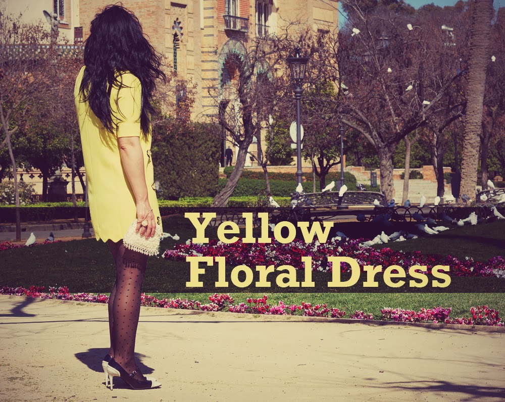 yellow+floral+dress