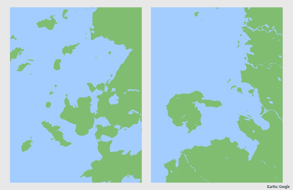 Kaksi karttaa, joissa esitettynä vain maa ja vesi.