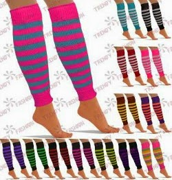 Striped, Knitted Leg Warmers by Trendy Fashion