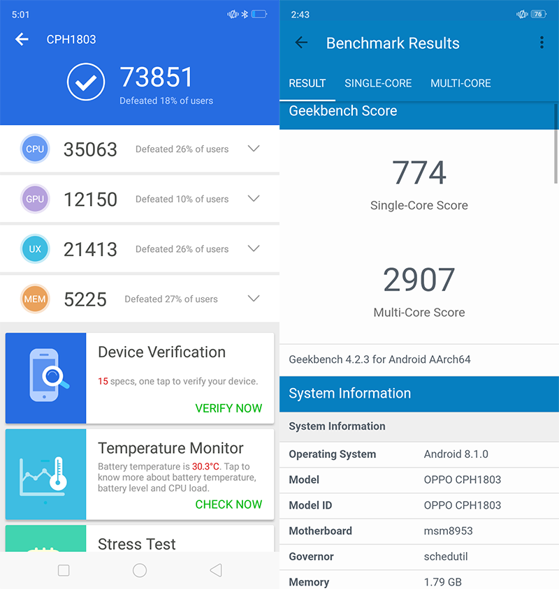 AnTuTu and Geekbench score of the A3s