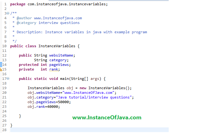 instance variables in java with example
