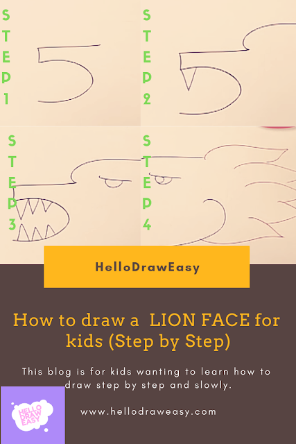 How to draw a FACE of LION for kids (Step by Step)