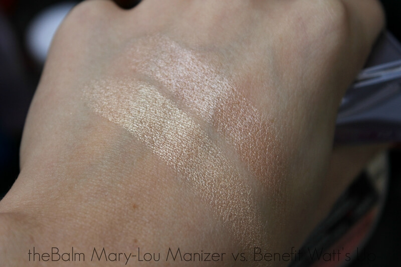THEBALM MARY-LOU MANIZER swatch vs benefit