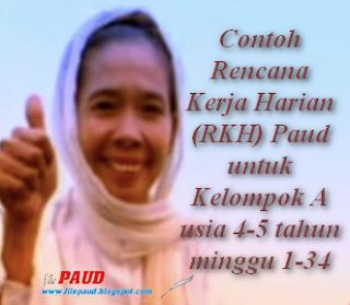 Contoh Rencana Kerja Harian (RKH) Paud untuk Kelompok A usia 4-5 tahun minggu 1-34