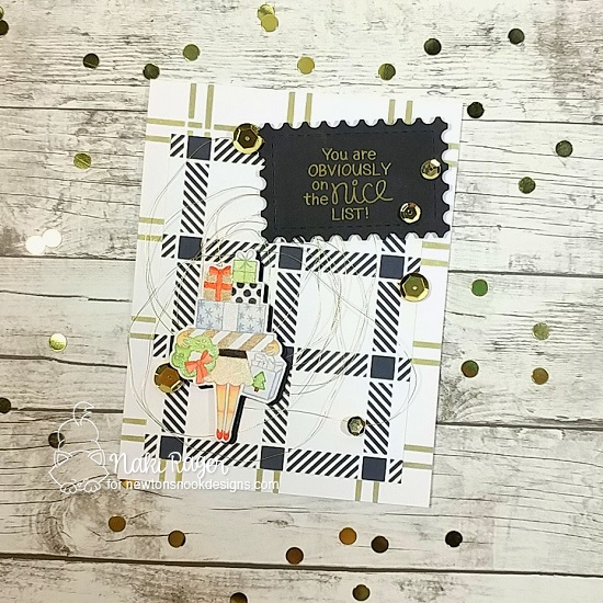 Nice List Christmas Card by Naki Rager | Christmas Haul Stamp Set and Plaid Stencil Set by Newton's Nook Designs #newtonsnook #handmade