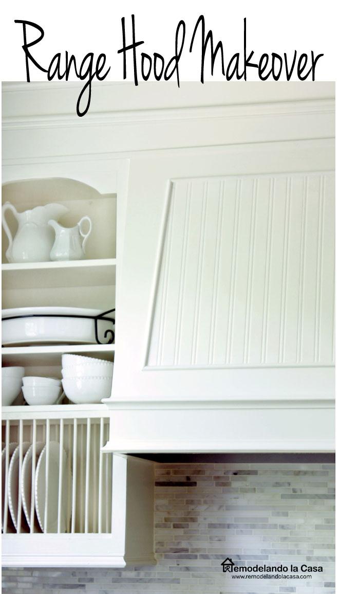 white kitchen with beadboard treatment on hood