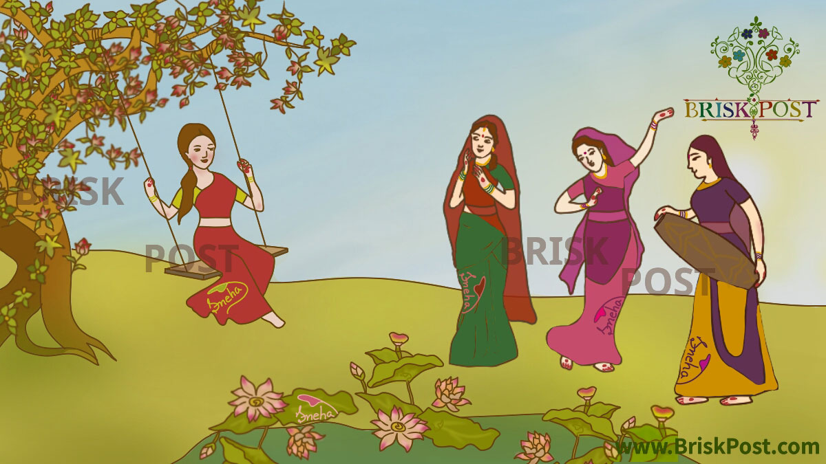 Teej Celebration: Women Oriented Monsoon Festival of Swings (Teej festival celebrating Indian girl on swing and Hindu ladies singing, dancing and playing instrument in green garden of monsoon)