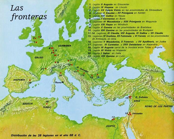 Ubicación de las legiones romanas