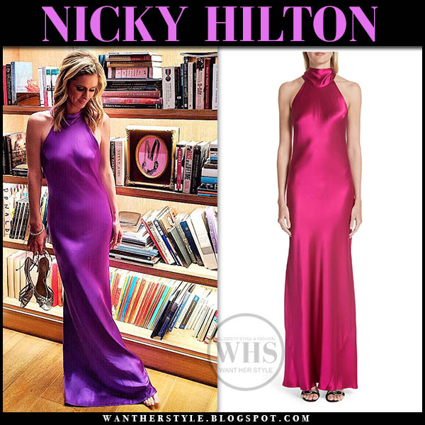 Nicky Hilton in purple silk halter neck dress galvan celebrity style january 13