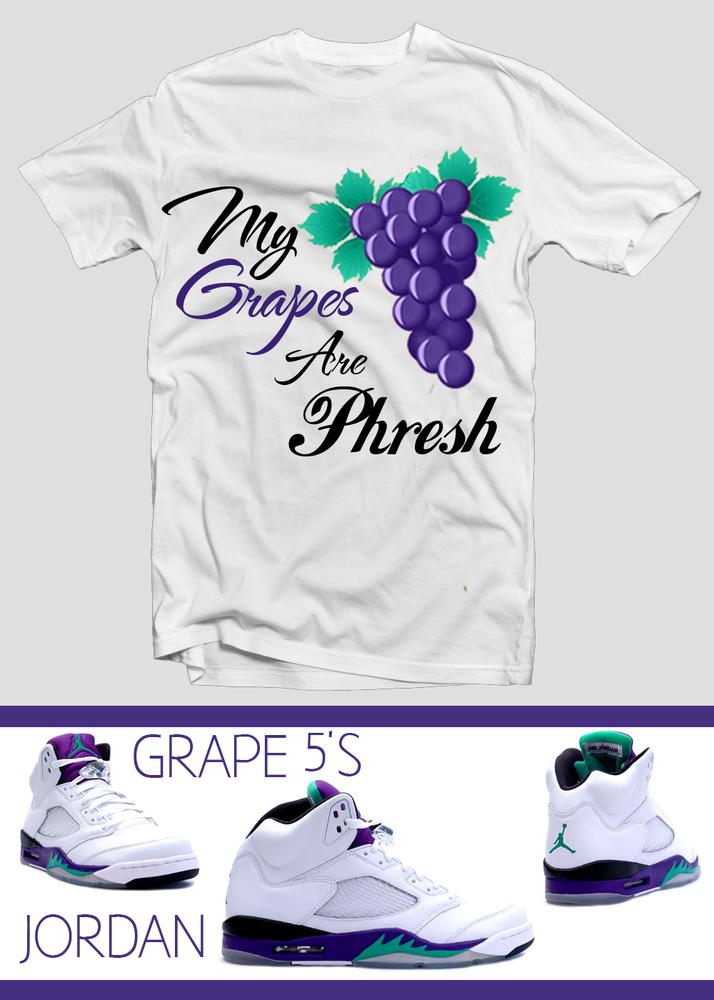 37c9bc13508dad Phresh Clothing Air Jordan Retro 5 Grape Jordan Sneaker Tee Shirts to Match  ...