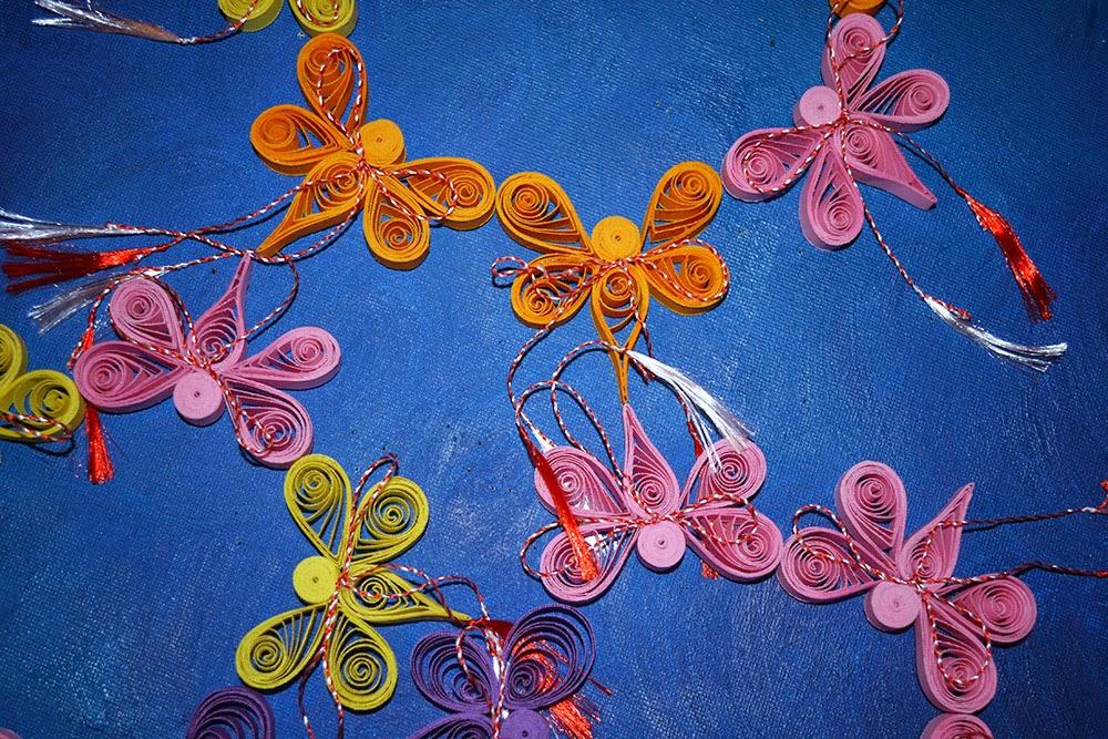 Martisoare handmade fluturi cu magnet Circul Magic Quilling