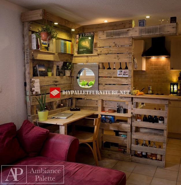 Separador de cocina y escritorio con - Cocinas con palets ...