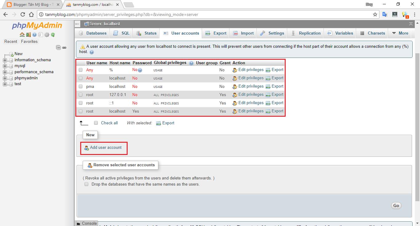 Hướng dẫn tạo tài khoản MySQL mới bằng phpMyAdmin trên XAMPP 3