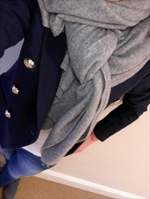 My Midlife Fashion, Mango double breasted blazer, zara cashmere scarf, j crew vintage long sleeve V neck t shirt, zara skinny jeans, Hush thornton boots