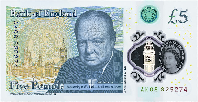 Great Britain New Fiver 5 Pound Sterling note 2016 Sir Winston Churchill